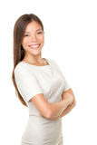 Asian woman portrait smiling happy. With arms crossed proud. Young casual female professional businesswoman isolated on white background. Multicultural Asian / Stock Photos