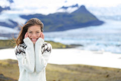 Asian woman portrait sweater by glacier on Iceland Royalty Free Stock Images