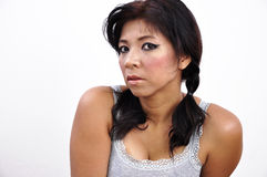 Asian woman portrait, white background Stock Photo