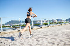 Asian Woman practice running in a city Stock Photography