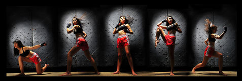 Asian Woman Practising Muay Thai Boxing royalty free stock image