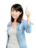Asian woman praise with thumb up Stock Image