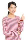 Asian woman praise with thumb up Stock Images
