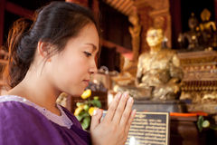 Asian woman praying Royalty Free Stock Photography