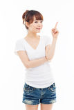 Asian woman present something. Stock Photography