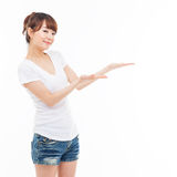 Asian woman present something. Stock Photo