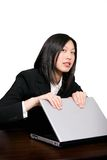 Asian woman protecting computer Stock Photos