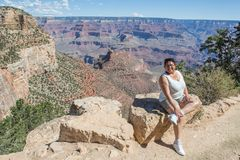 Woman posing on Bright Angel Trail Stock Photo