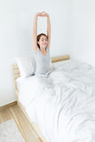 Asian woman raise her hand up and feeling relax Stock Images