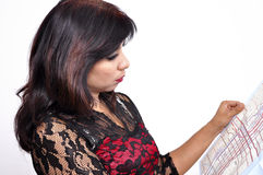Asian woman red black see through checks city map Stock Photos