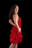 Asian woman in red crochet dress royalty free stock images