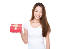 Asian Woman with red gift box Stock Images