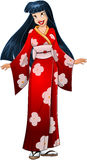 Asian Woman In Red Kimono. Vector illustration of an asian woman in traditional red japanese kimono royalty free illustration