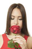 Asian woman red rose Stock Photo