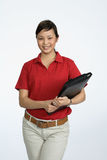 Asian woman in a red shirt Royalty Free Stock Image