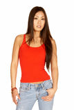 Asian Woman in Red Tank and Jeans. Beautiful Asian Woman in Red Tank and Jeans Royalty Free Stock Images