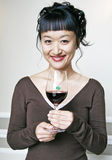 Asian Woman with Red Wine Stock Photos