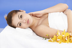 Asian woman relaxes at the spa Stock Images