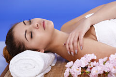 Asian woman relaxes at the spa Stock Photography