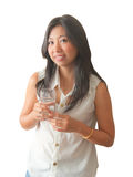 An Asian woman relaxing with drinking water Stock Photos