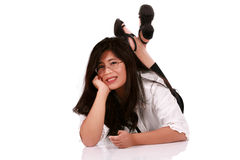 Asian woman relaxing on floor Royalty Free Stock Images