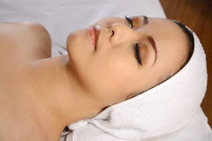 Asian Woman Relaxing On The Spa Stock Image