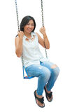 An Asian woman relaxing on a swing Royalty Free Stock Photos