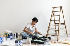 Asian woman renovating the house Stock Photography