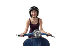 Asian woman riding a blue scooter Stock Image