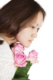 Asian Woman with roses Stock Images