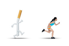 Asian woman running away from a cigarette Stock Photos