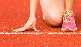 Asian woman is running in running track. Stadium, Thailand Stock Image
