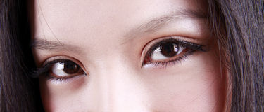Asian woman's eyes. Close-up of a beautiful young woman's eyes. She is a professional model royalty free stock photography