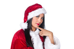 Asian woman Santa Claus Stock Image