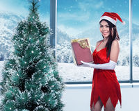 Asian woman in santa claus costume hold gift box stock photos