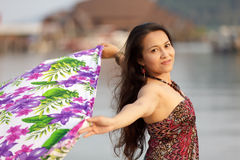 Asian woman with sarong Royalty Free Stock Images