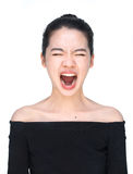 Asian woman screaming loudly isolated on white Stock Photography