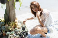 Asian woman select and buy flower. Beautiful Asian woman selecting cactus in floral shop, lifestyle of modern housewife royalty free stock photography