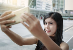 Asian Woman Selfie In City Stock Photos