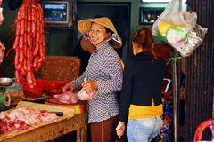 Asian woman selling meats. Happy Asian woman selling meats at a market in the Mekong Delta Royalty Free Stock Photo