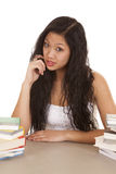 Asian woman serious books Royalty Free Stock Images