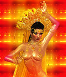 Asian woman with body, belly dancing. Beautiful face, cosmetics, diamonds and jewelry Royalty Free Stock Photos