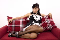 Asian woman with sexy French maid costume Royalty Free Stock Images
