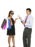Asian Woman Shopper Accepting Money Husband At V Royalty Free Stock Photo