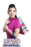 Asian woman and shopping bag Royalty Free Stock Images