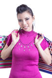 Asian woman and shopping bag Stock Photos