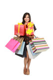 Asian Woman with Shopping Bags and Box Royalty Free Stock Photos