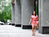 Asian woman shopping in the city Royalty Free Stock Images