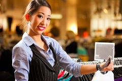 Asian Woman in shopping mall Stock Photo