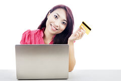 Asian Woman shopping online Stock Photos